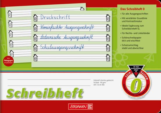Schreibheft A5 quer extragroße Liniensysteme 6:6:6 mm, 5 Liniensysteme, Kontrastlineatur, Lin. 0 grün Brunnen mit Häuschen Haus
