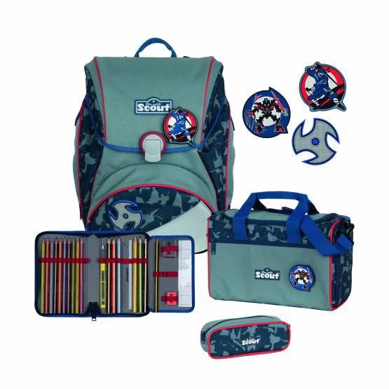 Scout Alpha Blue Ninja Schultasche Set Schulranzenset 4tlg 2022