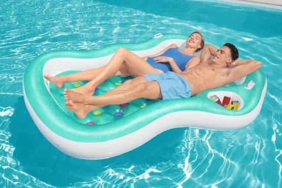 Bestway doppel Luftmatratze Badeinsel Schwimmliege Pool Lounge Matratze 43045