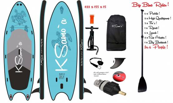 Stand Up SUP KSamo`a ® Big Sup PREMIUM SET 488x155x15 Paddle Board Surf ISUP Paddling Ksamoa, Bluerider
