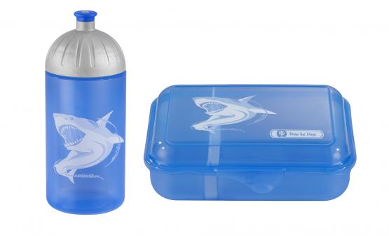 Step by Step Trinkflasche Lunchbox Brotdose Brotbüchse Angry Shark Set
