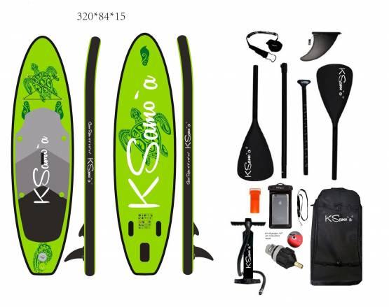 Stand Up SUP KSamo`a ®  PREMIUM SET 320 Paddle Board Surf ISUP Paddling Ksamoa, Greenrider