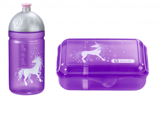 Step by Step 2teiliges Set Trinkflasche Lunchbox Brotdose Brotbüchse Unicorn,