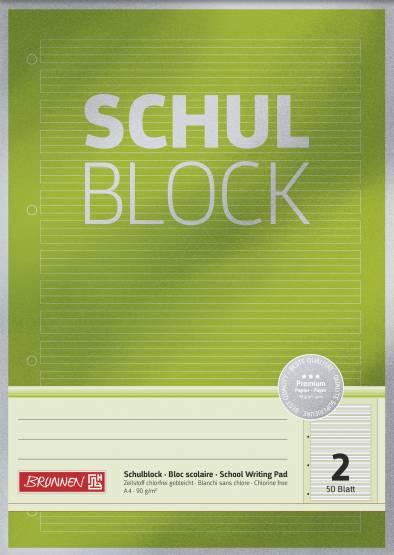 Brunnen Schulblock Schreiblock Premium A4 Lin.2 Lin2 gelocht