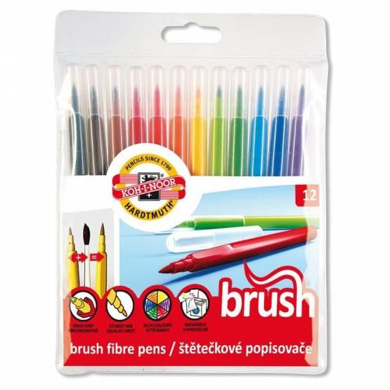 Fasermaler 12er Pack Brush Pen Pinselfasermaler