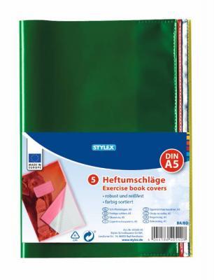 Heftumschlag A5 Gelb Blau Grün Rot transparent