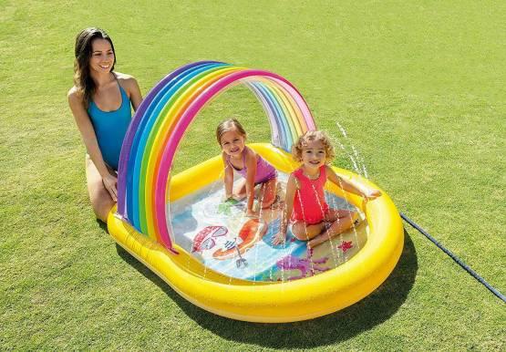 Kinderpool Kinderplanschbecken  Planschbecken Pool 147 x130 Regenbogenpool  mit Wassersprüher INTEX 57156