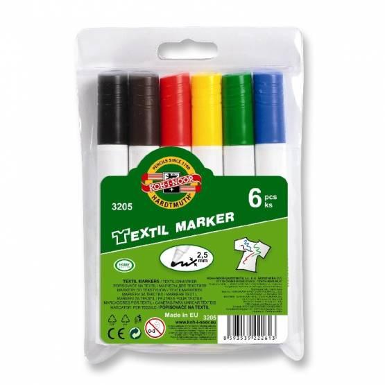 Textilmarker Jumbo 2,5 mm Rundspitze / farblich sortiert , im 6er Pack