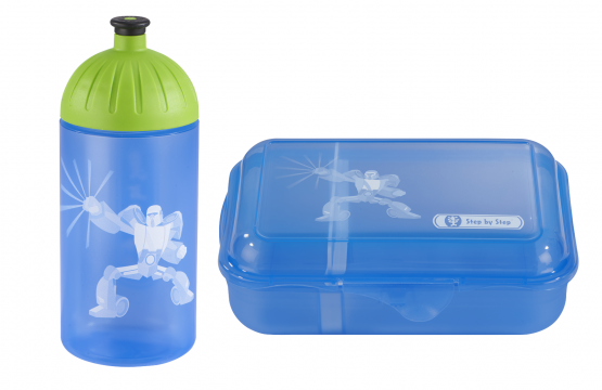 Step by Step Trinkflasche Lunchbox Brotdose Brotbüchse Power Robot Set