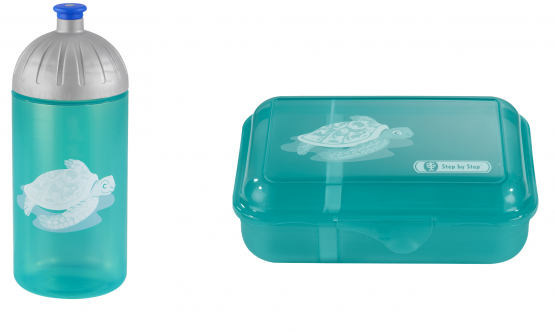 Step by Step Trinkflasche Lunchbox Brotdose Brotbüchse Happy Turtle,  Set